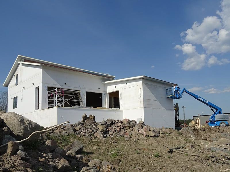 Hus med decentraliserad ventilation och Lunos KNX styrning
