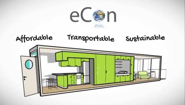 Containerhus byggt med en container per lägenhet