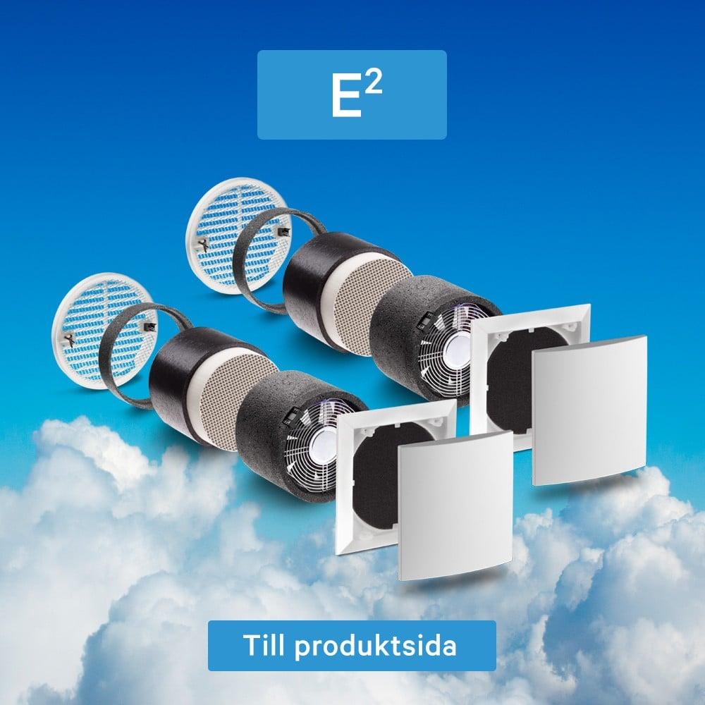 Produktinfo om Lunos e2 och beskrivning på hur decentraliserad ventilation fungerar