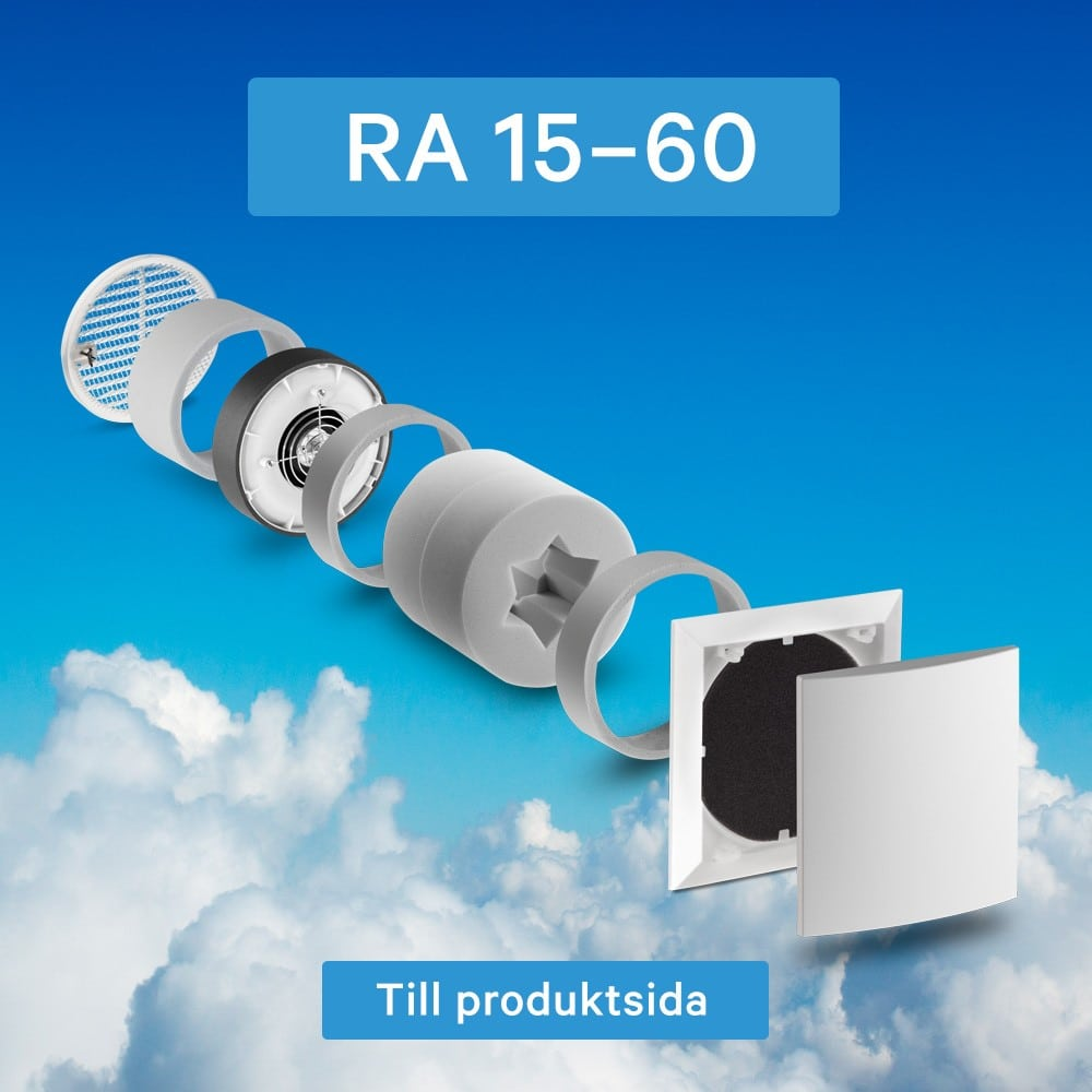 Lunos radiala frånluftsfläkt för 160 mm rör