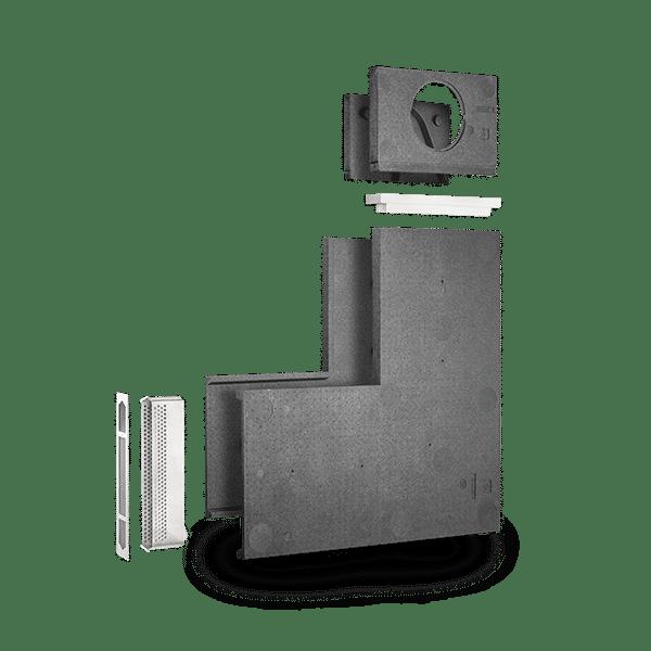 Produktbild på LUNOTherm-S för mer diskreta fasad ventiler, sprängskiss