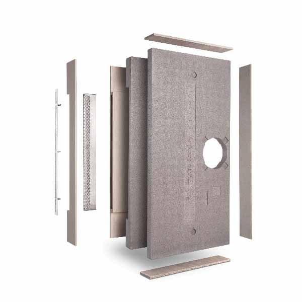 Produktbild på LUNOTherm för mer diskreta fasad ventiler, sprängskiss