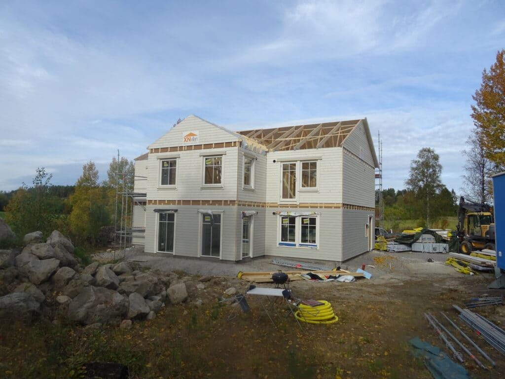 Hus med stomme från XN villan ventilation från Energy Building